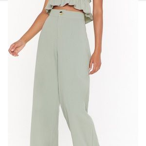 Nasty Gal Green Linen Pants
